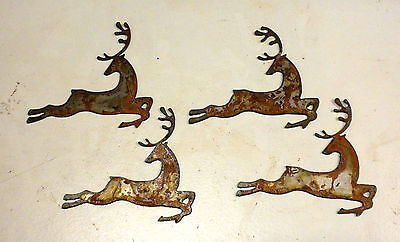 """Lot of 4 Leaping Deer Shapes 4"""" Rusty Metal Vintage Holiday Ornament Craft Sign"""