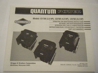 Briggs And Stratton New Quantum Power Operating Manual And Instructions