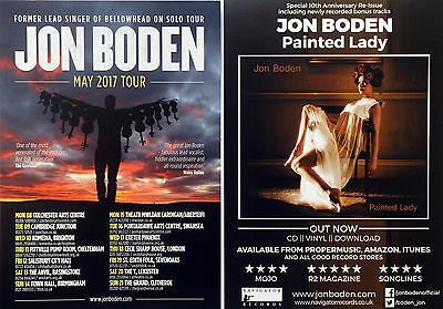Jon Boden ( Bellowhead ) May 2017 Tour Flyers X 2 - Painted Lady