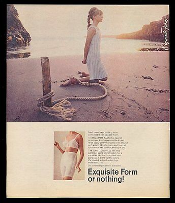 1967 Exquisite Form lingerie bra girdle woman tied to stake at beach photo ad