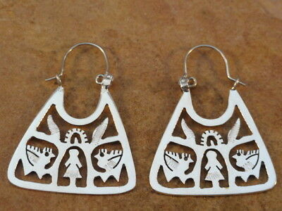 Beautiful Mexican Mexico Sterling Silver Hoop Earrings