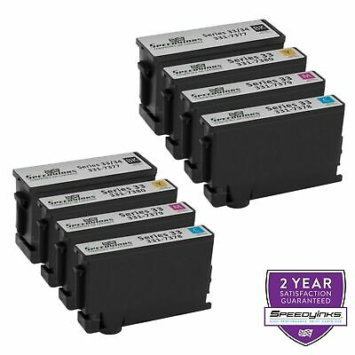 8pk Series 33 34  Extra HY Black & Color Printer Ink Cartridge for Dell V525w