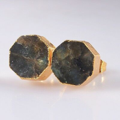 10mm Natural Labradorite Stud Earrings Gold Plated B042978