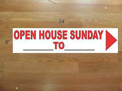 "10 6""x24"" White & Red REAL ESTATE OPEN HOUSE SUNDAY -  NEW LOWEST PRICE"
