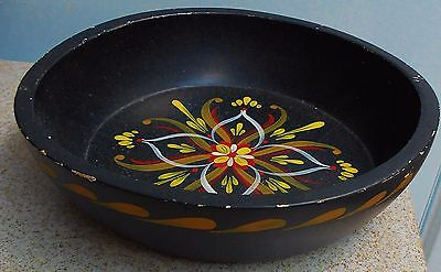 Vintage Black Wood Norwegian Rosemaling Bowl Made In Norway