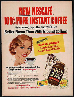 1954 NESCAFE Instant Coffee AD w/Happy Homemaker Housewife~Vintage Kitchen Decor
