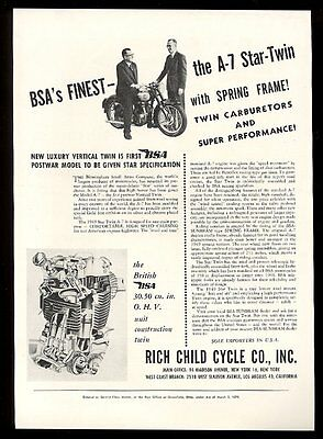 1949 BSA motorcycle A7 Star Twin photo and engine diagram vintage print ad