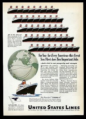 1947 SS S.S. America ship fleet art United States Lines travel print ad 1