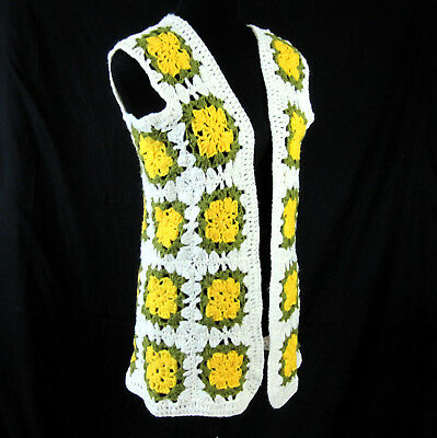 Crochet Granny Square Vest White Green Yellow Vintage 1970s Hippie Boho Costume