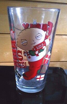"""FAMILY GUY--Stewie--""""Check This Twice"""" Christmas Glass"""