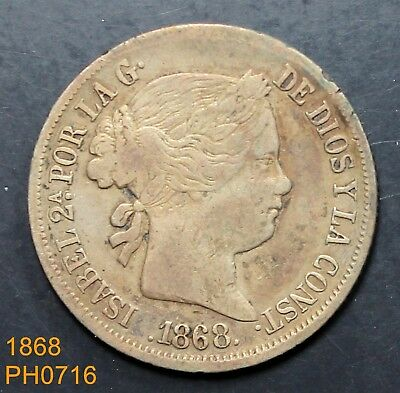 PHILIPPINES SPAIN 20 Centimos 1868 90% silver better condition for this date