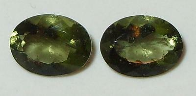 2ct Pair Faceted TOP QUALITY Natural Czechoslovakia Moldavite Oval Cut 8x6mm