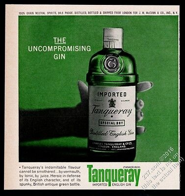 1964 Tanqueray Gin green bottle photo The Uncompromising Gin vintage print ad