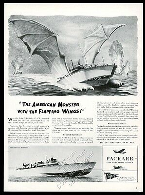 1942 GREAT PT boat with bat wings art Packard engine vintage print ad