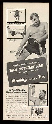 1942 Man Mountain Dean photo Wembley ties vintage print ad