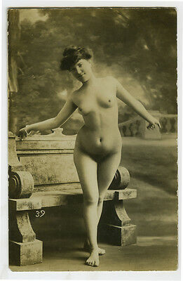 c 1910 Sexy French STANDING NUDE Lady risque photo postcard