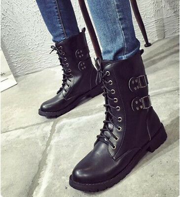 Womens PU Leather Mid Calf Flat Martin Boots Military Biker Lace-Up Combat Shoes