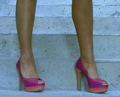 VINTAGE Jessica Simpson Sexy Unabashed Glamour Pink High Heels Size 39.5