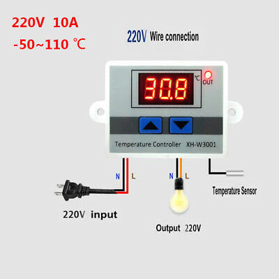 12/220V Digital LED Temperature Controller 10A Thermostat Control Switch Probe