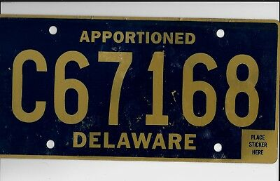 "DELAWARE license plate ""C67168"" ***APPORTIONED***UNUSED***"
