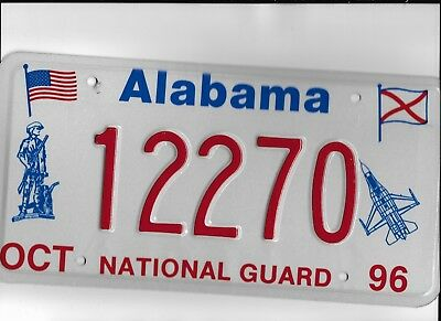 "ALABAMA 1996 license plate ""12270"" ***MINT***NATIONAL GUARD***"