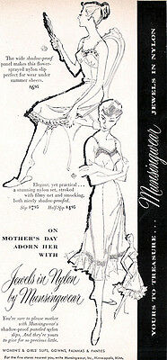 Munsingwear Jewels in Nylon SHADOW PROOF SLIPS FOR MOTHER'S DAY 1952 Magazine Ad