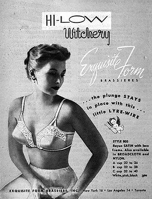 Exquisite Form Brassieres HI LOW WITCHERY Plunge Stays In Place 1951 PRINT AD