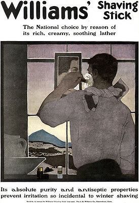 Williams Shaving Stick Large Color 1906 Magazine Print Ad 108 Years Old