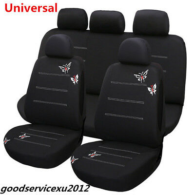 11 Pcs Black Butterfly Embroidery Pattern Car SUV Front Rear Seat Covers Cushion