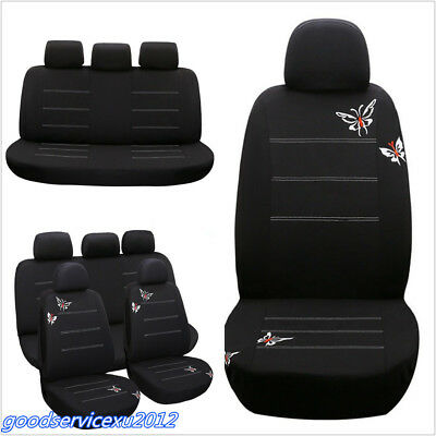 11X Polyester Fabric Butterfly Embroidery Car Seat Cover Chair Mat Protector Pad