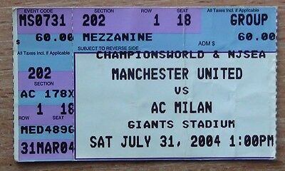 Tickets Manchester United England - AC Milan Italy 2004 from USA