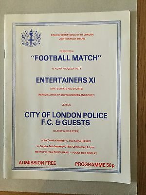 ENTERTAINERS XI v CITY OF LONDON POLICE & GUESTS 1978.