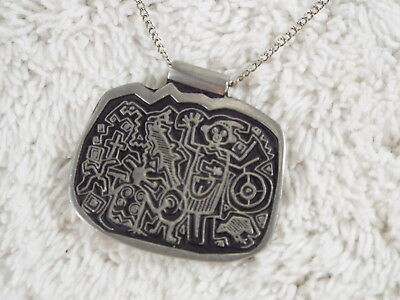 ALICE SEELY Urban Fetishes THE DELIGHT MAKERS Pewter PETROGLYPHS Necklace (D18)