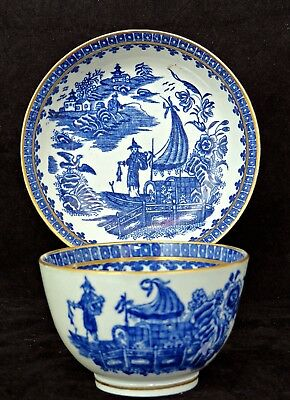Antique Worcester Porcelain Tea Bowl & Saucer Fisherman Cormorant Pattern 18Th C