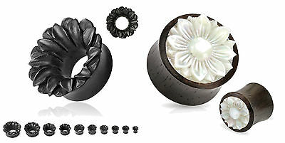 2 Pairs Organic Black Flower Mother Pearl Wood Hand Carved Ear Plugs Tunnels