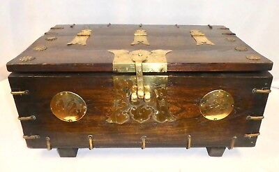 Antique Korean TON-KWE Elmwood+Brass CHEST. Hinged Top; Rosettes;Medallions 1850