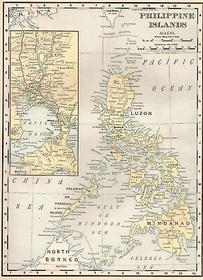 1900 Antique PHILIPPINES Map VINTAGE Map of the Philippine Islands Map 4148