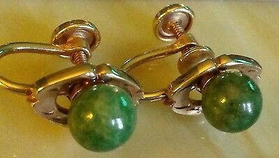1/20 12kt gold filled genuine Jade earrings