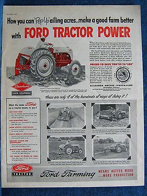 1952 Ford Tractor Ad  HOW TO PEP UP AILING ACRES -5 Pics of Farm Use