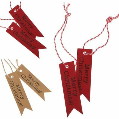 50/100PCS Merry Christmas Kraft Paper Gift Tags Scallop Label Luggage + Strings
