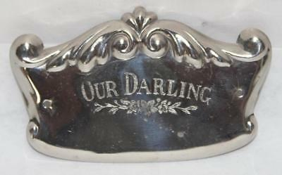 "Antique c.1920 ""Our Darling"" Coffin Casket Plaque from Funeral Museum Auction"