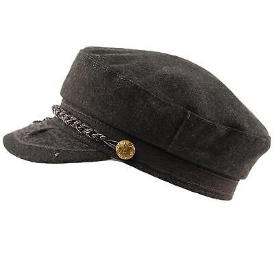 Men's Greek Fisherman Sailor Fiddler Winter Wool Driver Hat Flat Cap Charcoal SM