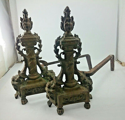 BRONZE FIREPLACE Vintage ANDIRONS Long Home Hearth Chimney Columnar Metal Decor