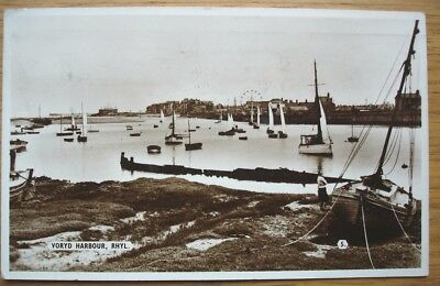 Voryd Harbour, Rhyl. 1950s Real photo postcard by Bamforth