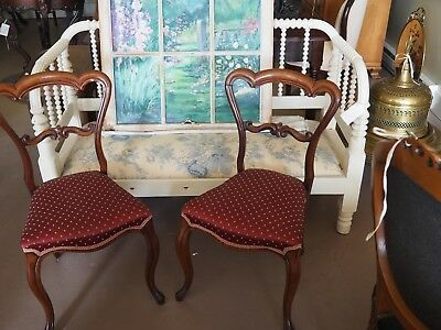 Spectacular Pair of Antique Victorian Chairs With Carved Open Backs