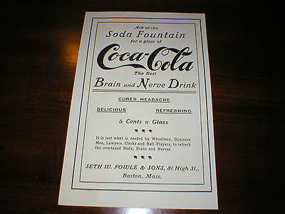Cocaine Coca Cola Coke Brain Tonic Drink  Soda Pop  Drug Store Medicine  Sign