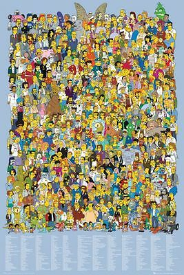 Poster THE SIMPSONS - 457 Characters - Cast 2012 NEU!!  (57597)