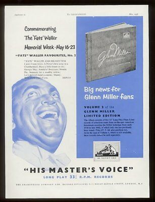 1956 Fats Waller portrait HMV Records UK vintage print ad