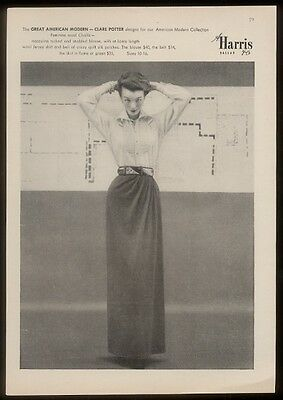 1949 Clare Potter 'American Modern' skirt blouse photo A Harris vintage print ad