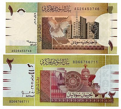 SUDAN 1 and 2 Sudanese Pounds - A Set of 2 Crisp UNC Banknotes